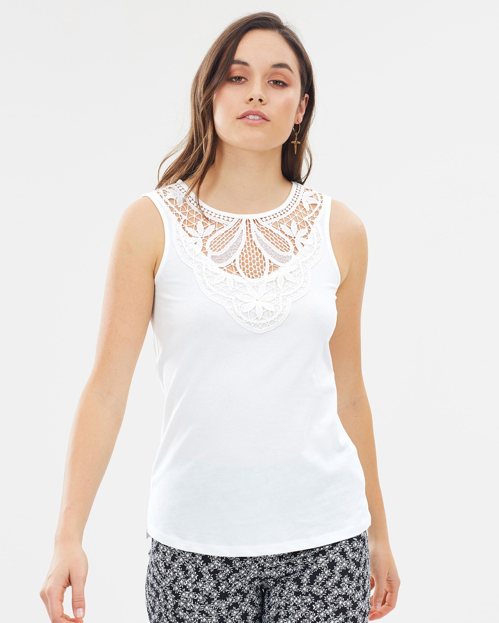 Dorothy Perkins Lace Yoke Shell Top Tops Ivory Lace Yoke Shell Top