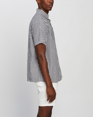 Justin Cassin Elm Stripe Short Sleeve Shirt Casual shirts Black