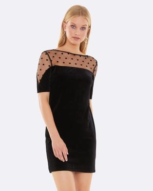 Calli – Saska Velvet Flocked Dress Black Polka-dot
