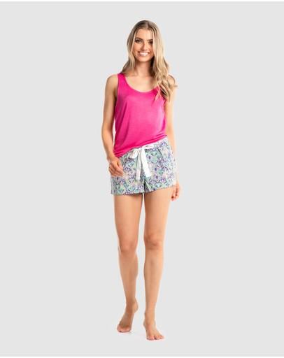 Deshabille Sleepwear Eve Deco Short Pj Set Pink / Blue