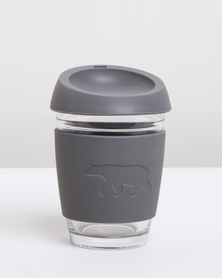 Running Bare Barista Bear Reusable Glass Coffee Cup - Home (Clear & Charcoal)