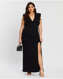Boohoo - Plus Ruffle Shoulder Plunge Maxi Dress