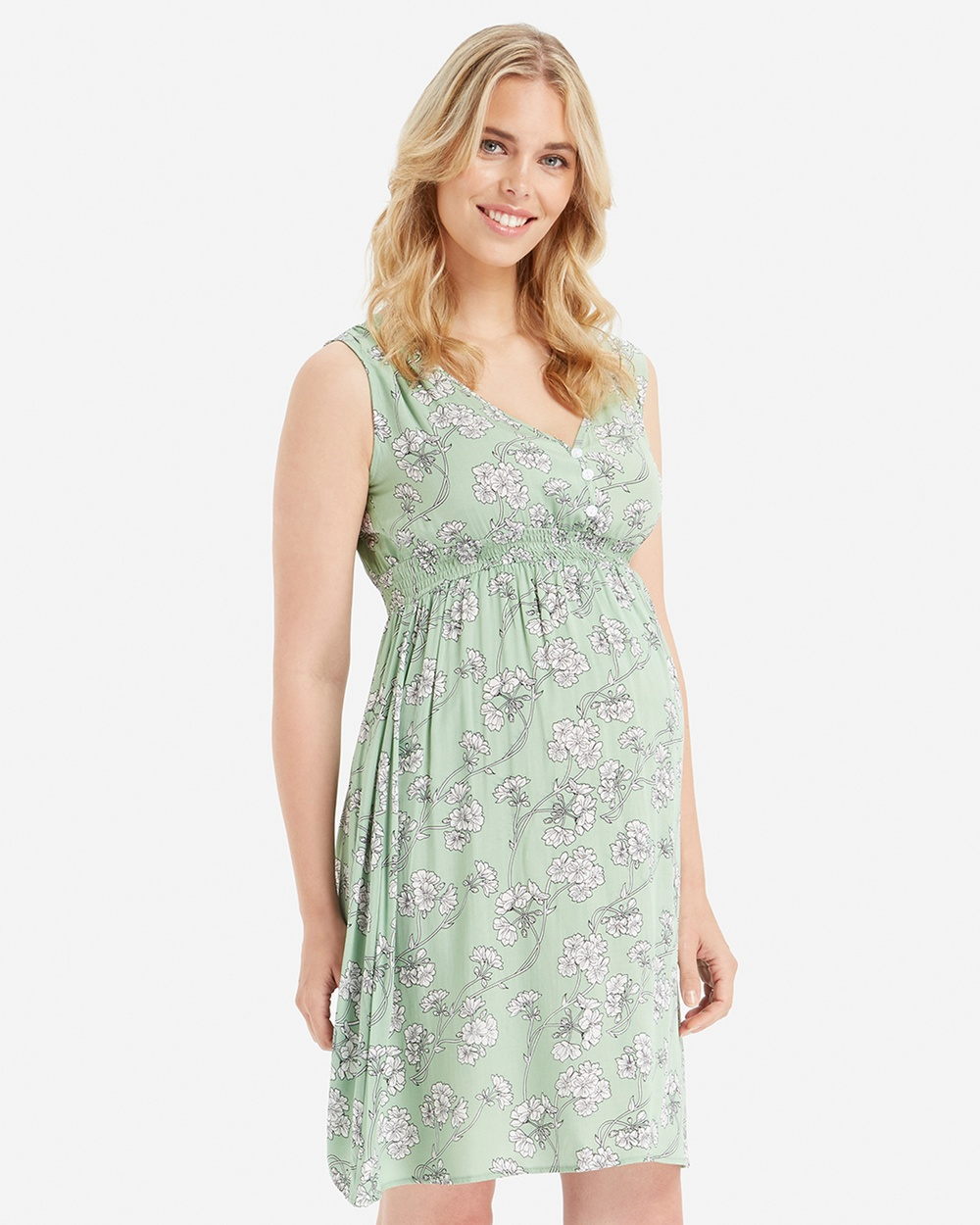Glow Mama Green Floral Ivy Maternity Dress