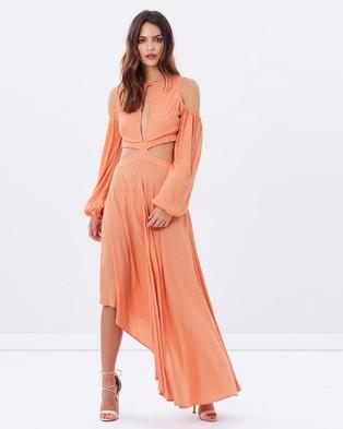 Dark Pink – Asymmetric Hem Maxi – Dresses (Coral)
