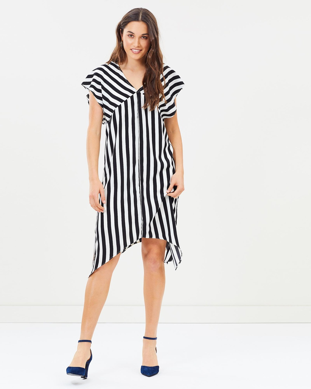 Honey and Beau Black/White Acacia Kaftan Dress