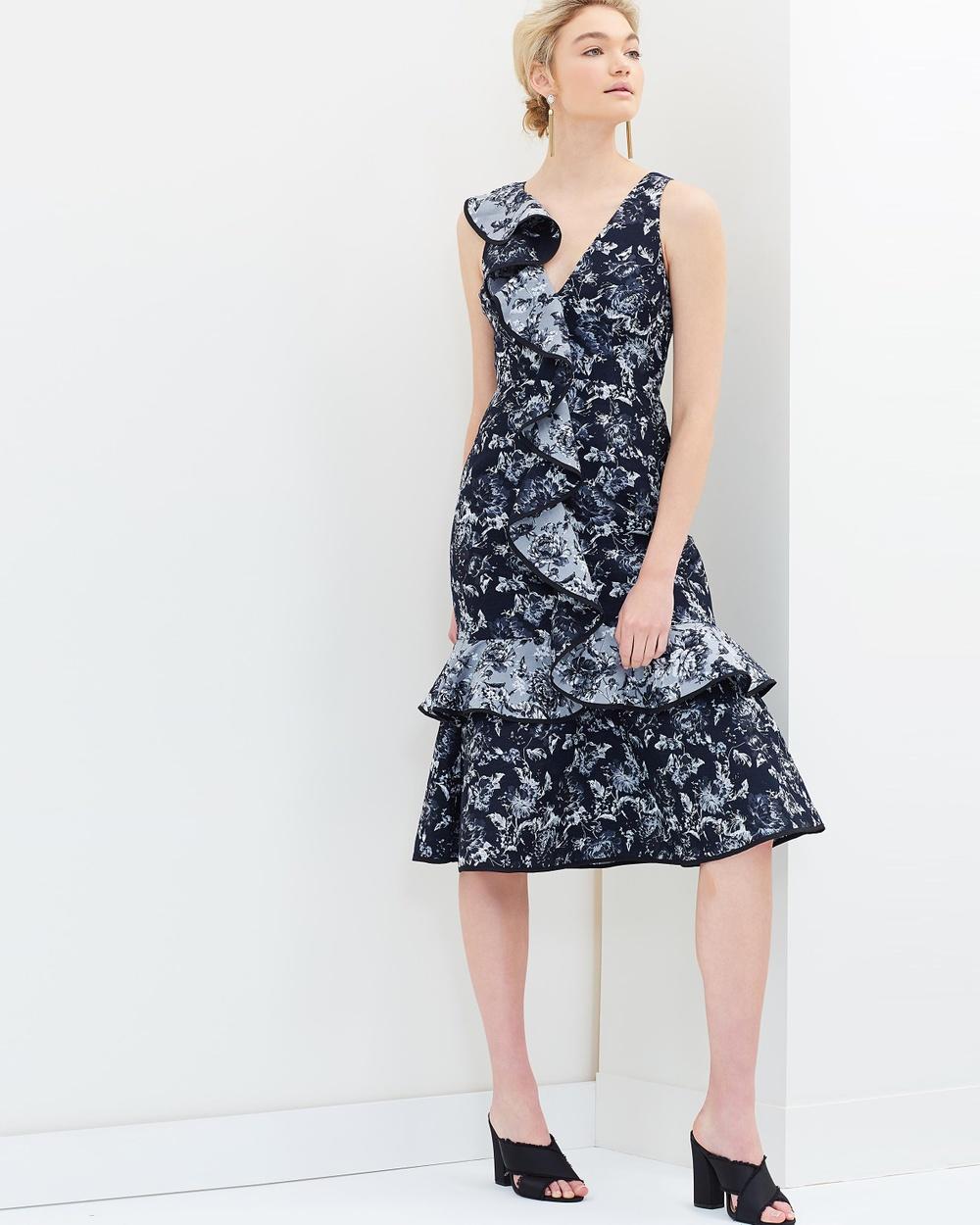 Keepsake the Label Dream Catcher Midi Dress Dresses Navy & Ivory Dream Catcher Midi Dress