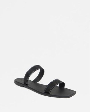 Caverley - Kay Slide Sandals (Black Satin)