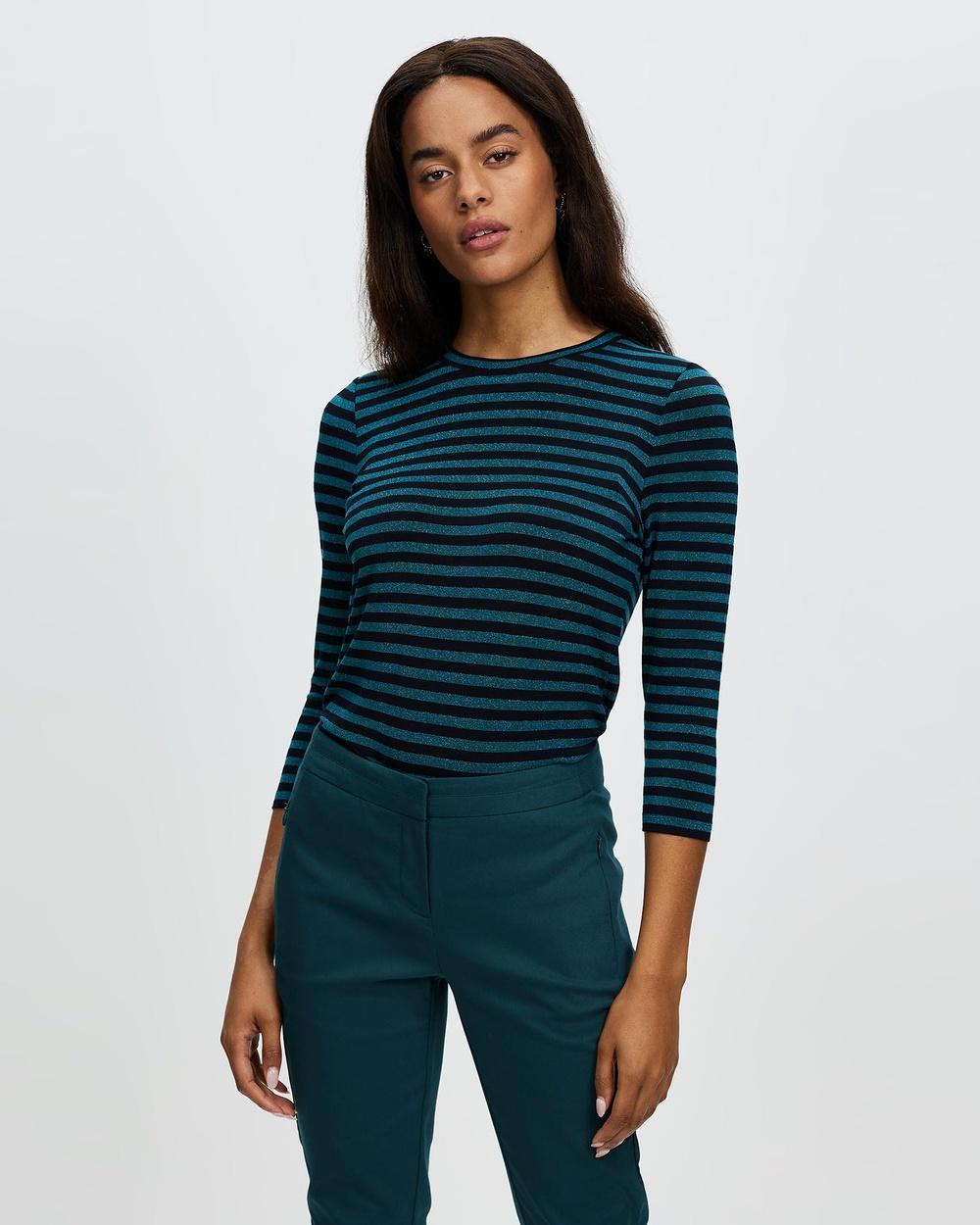 Marcs Laurel Lurex Stripe Tee T-Shirts & Singlets BLACK/GREEN