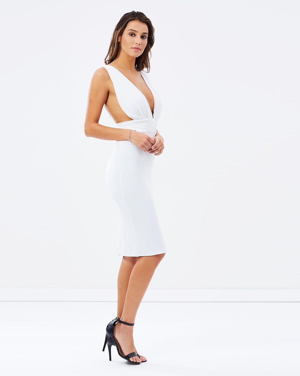 SKIVA Deep V Cocktail Dress Dresses White Deep V Cocktail Dress