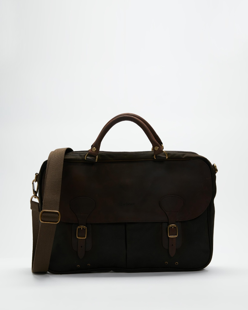 Barbour Wax Leather Briefcase Bags Olive