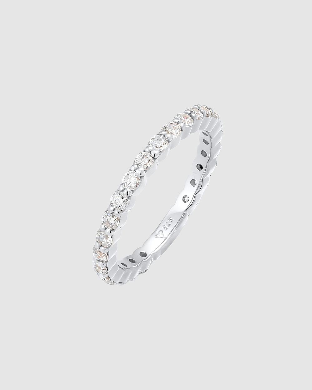 Elli Jewelry Ring Memoire Sparkling with Cubic Zirconia Crystals in 925 Sterling Silver Jewellery Silver