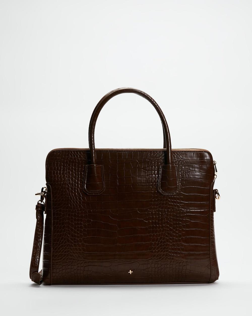 PETA AND JAIN Hustle Laptop Bag Handbags Chocolate Croc