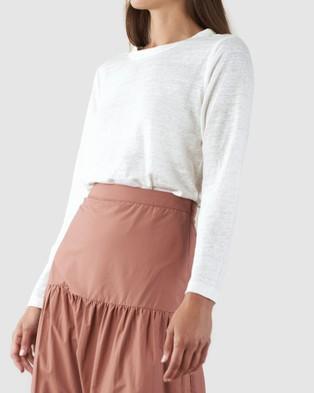 Amelius Priya Long Sleeve Linen T Shirt - Long Sleeve T-Shirts (Ivory)
