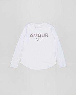 Decjuba Kids Amour Long Sleeve Tee  Kids Teens - T-Shirts & Singlets (White)