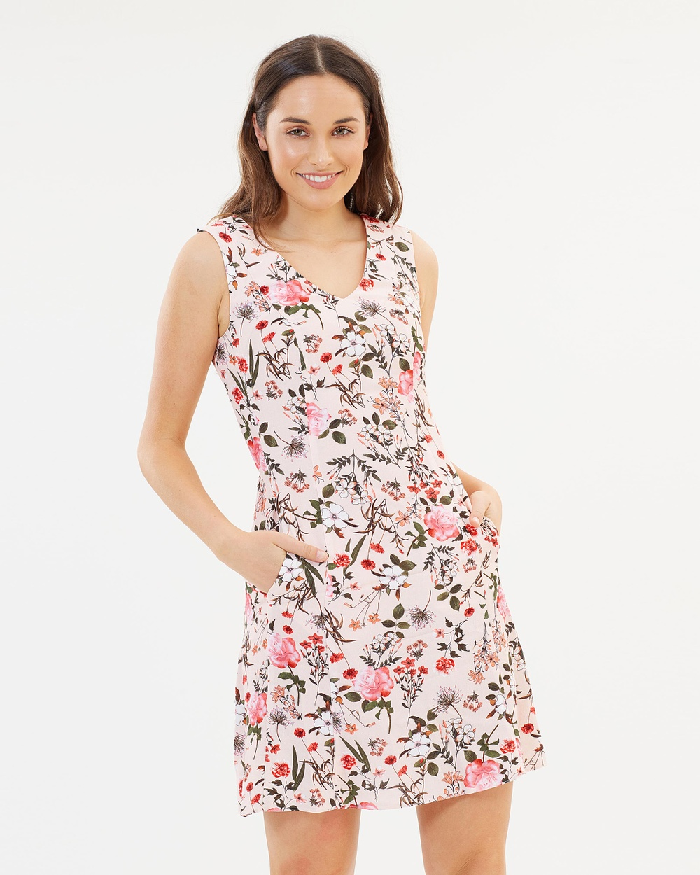 Dorothy Perkins Floral Fit and Flare Dress Printed Dresses Blush Floral Fit-and-Flare Dress