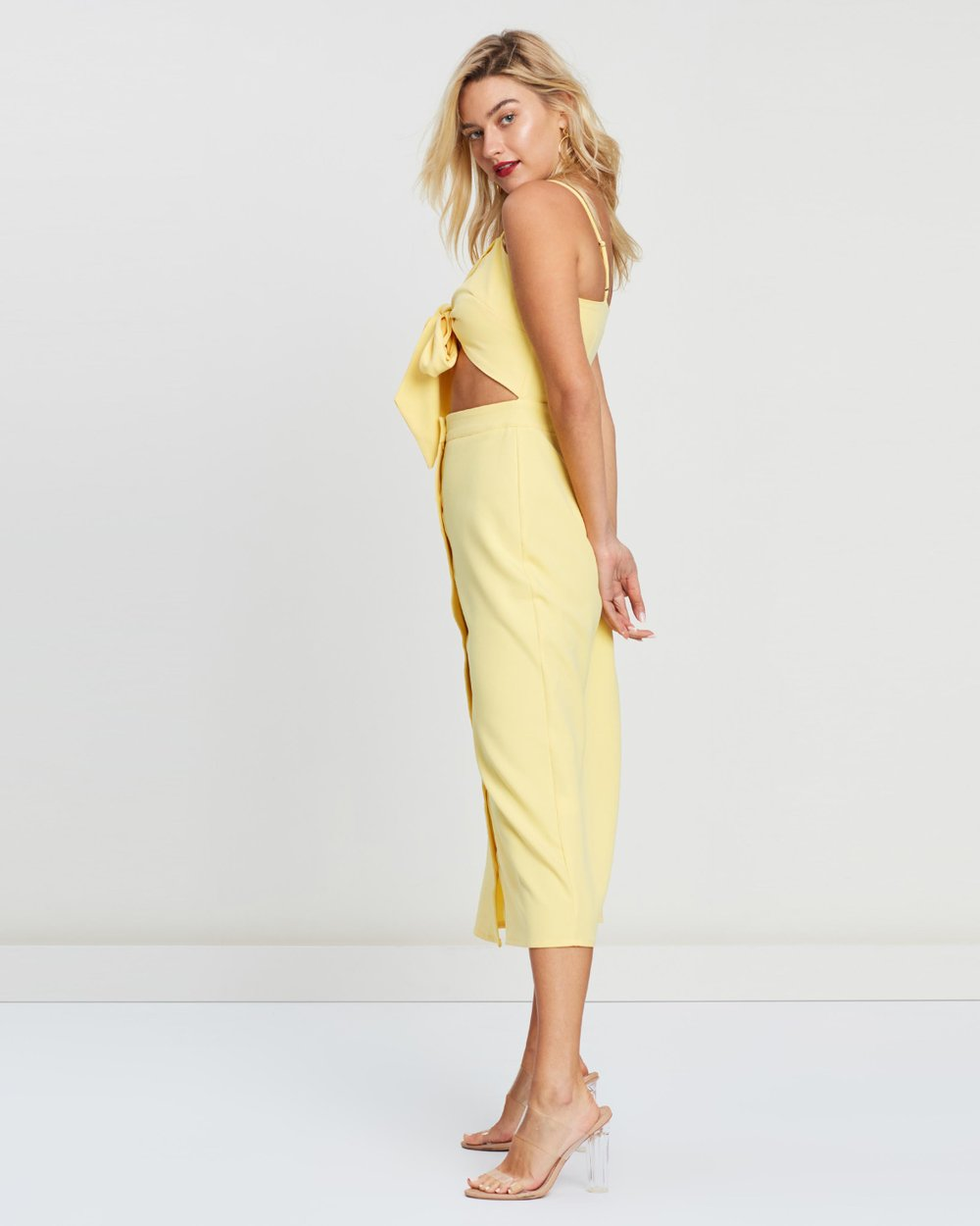 2f94a49f58fd Tie Front Button Down Strappy Midi Dress by Missguided Online | THE ICONIC  | Australia