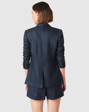 French Connection Linen Relaxed Blazer - Coats & Jackets (FRENCH NAVY)