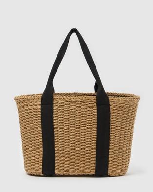 Izoa Jules Woven Tote Bag - Beach Bags (Natural)