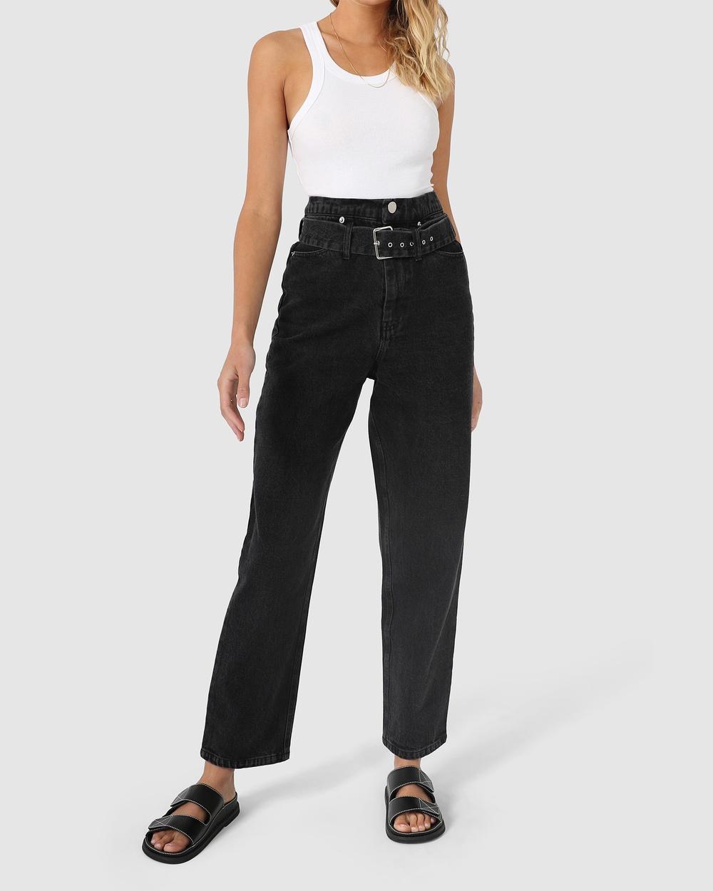 Madison The Label Olympus Jeans High-Waisted Washed Black Denim Australia