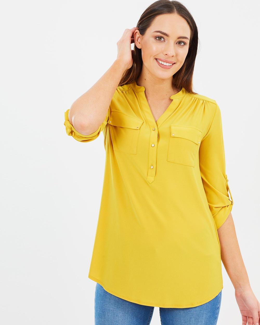 Wallis Longline Shirt Tops Mustard Longline Shirt