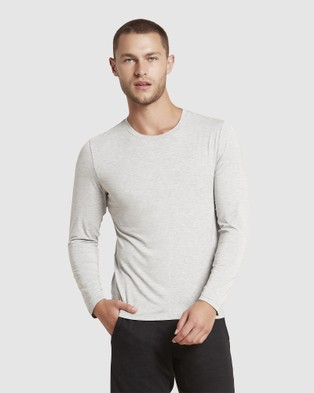 Boody Organic Bamboo Eco Wear Long Sleeve Crew Neck T Shirt - Long Sleeve T-Shirts (Light Marl)