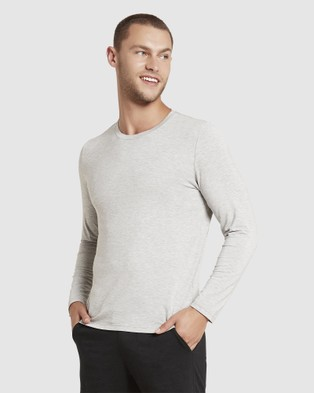 Boody Organic Bamboo Eco Wear - Long Sleeve Crew Neck T Shirt T-Shirts (Light Marl) T-Shirt