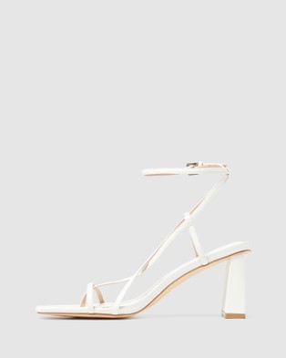 Forever New Indiana Strap Mid Block Heels - Heels (White)