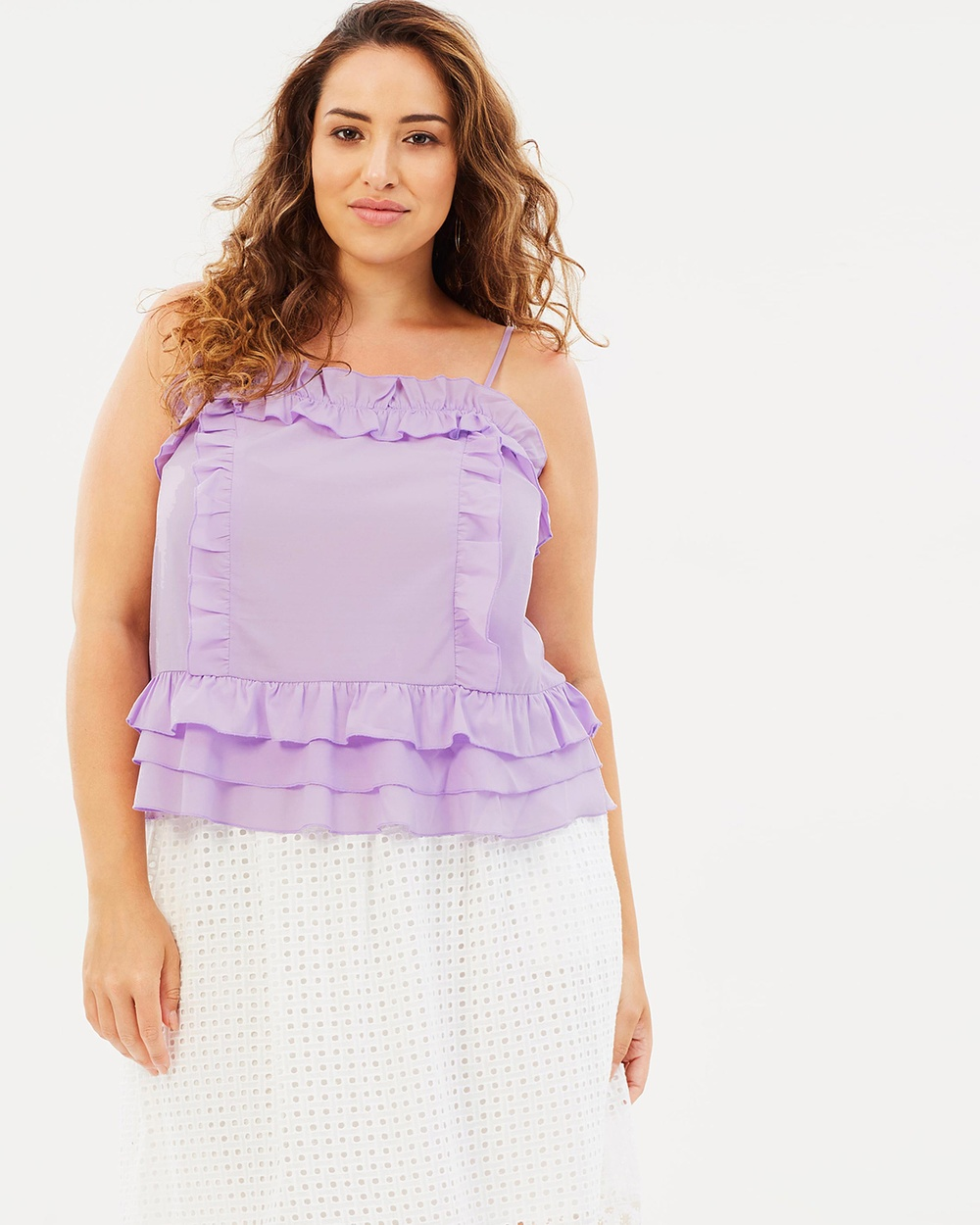 Atmos & Here Curvy ICONIC EXCLUSIVE Tammy Ruffle Cami Tops Lilac ICONIC EXCLUSIVE Tammy Ruffle Cami
