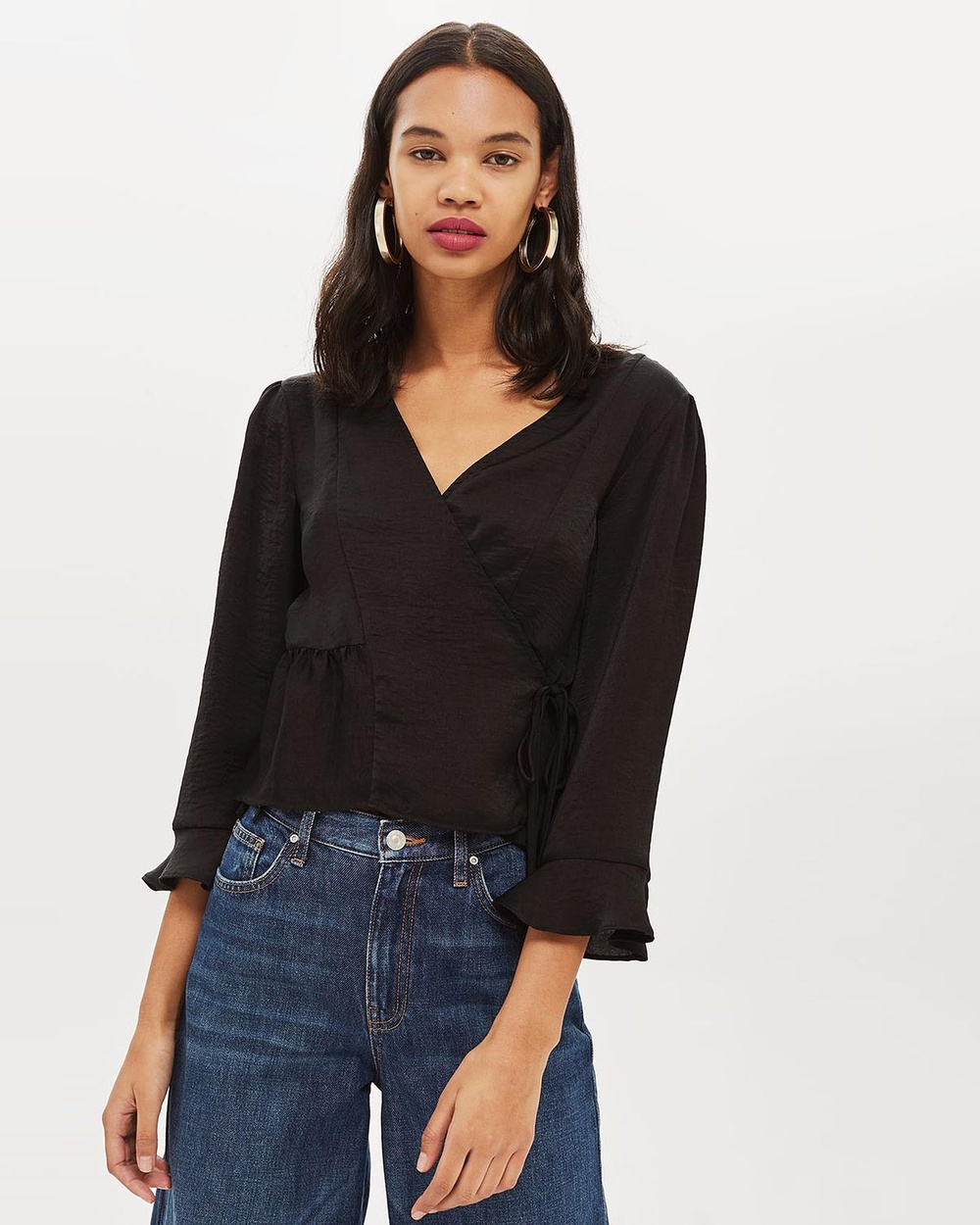 TOPSHOP Frill Wrap Blouse Tops Black Frill Wrap Blouse