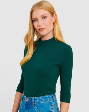 Forcast Angeline Mock Neck Knit - Jumpers & Cardigans (Green)