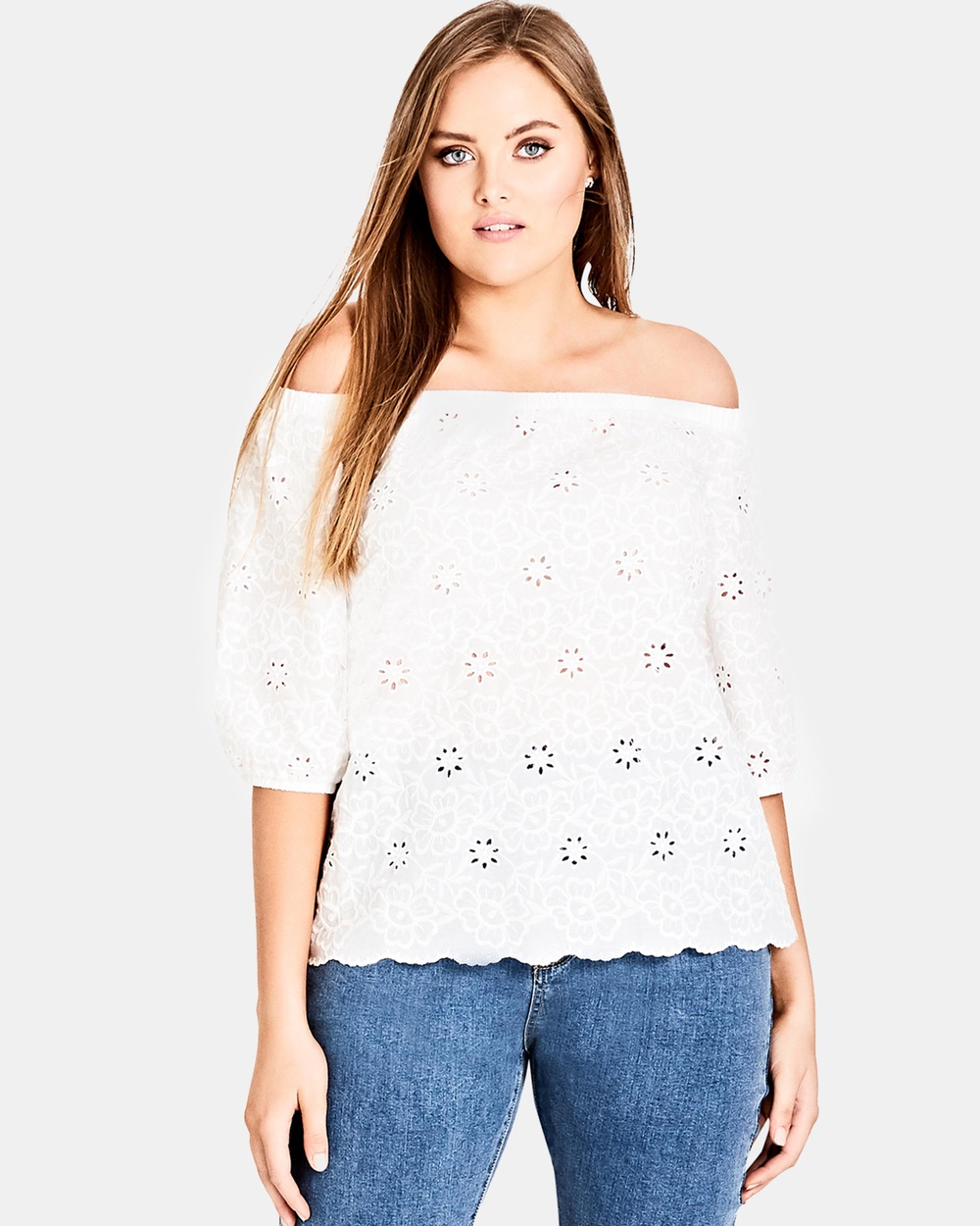 City Chic Sweet Gem Top Tops White Sweet Gem Top