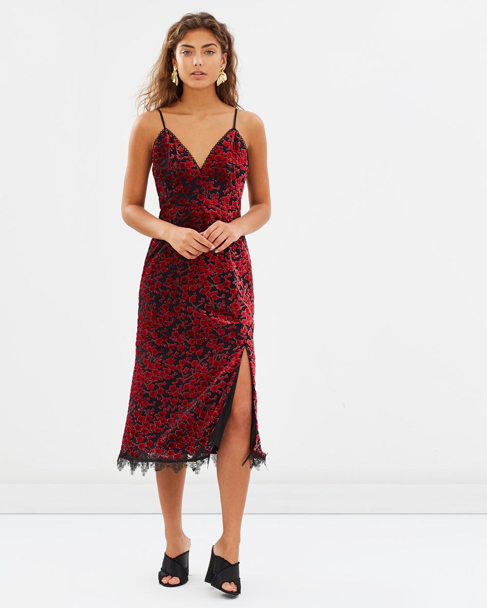 Talulah Paramore Midi Dress Dresses Red Velvet Burnout Paramore Midi Dress