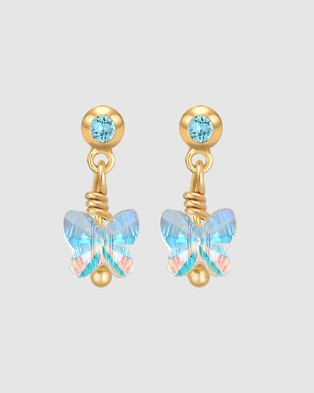Elli Jewelry Kids Earrings Children Butterfly with Swarovski® Crystals in 925 Sterling Silver Gold Plated Jewellery blue