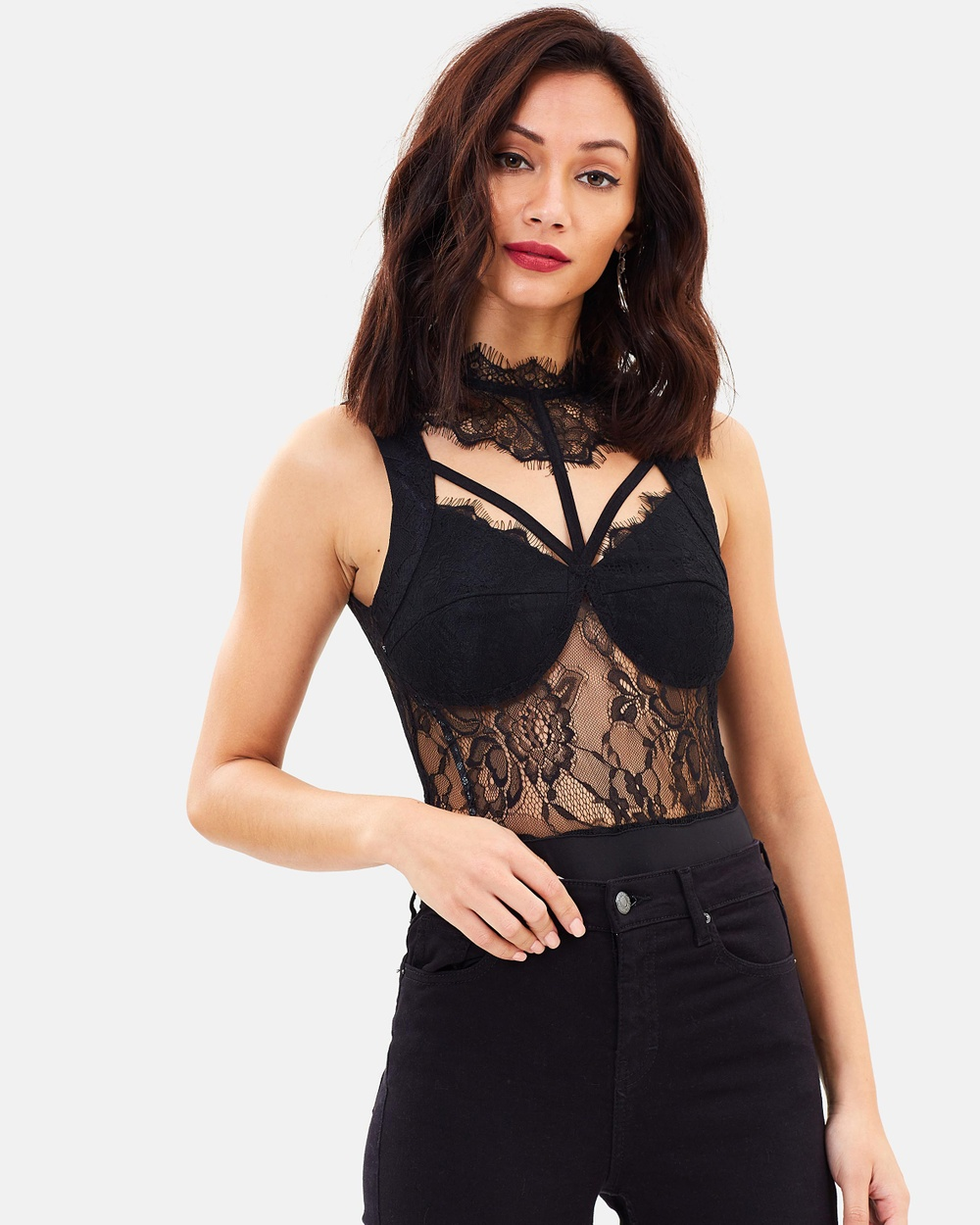 Missguided Sheer Lace High Neck Bodysuit Tops Black Sheer Lace High Neck Bodysuit