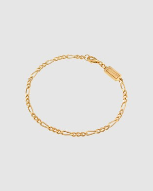 Kuzzoi Bracelet Figaro Chain Massive Basic Trend in 925 Sterling Silver Gold Plated - Jewellery (Gold)
