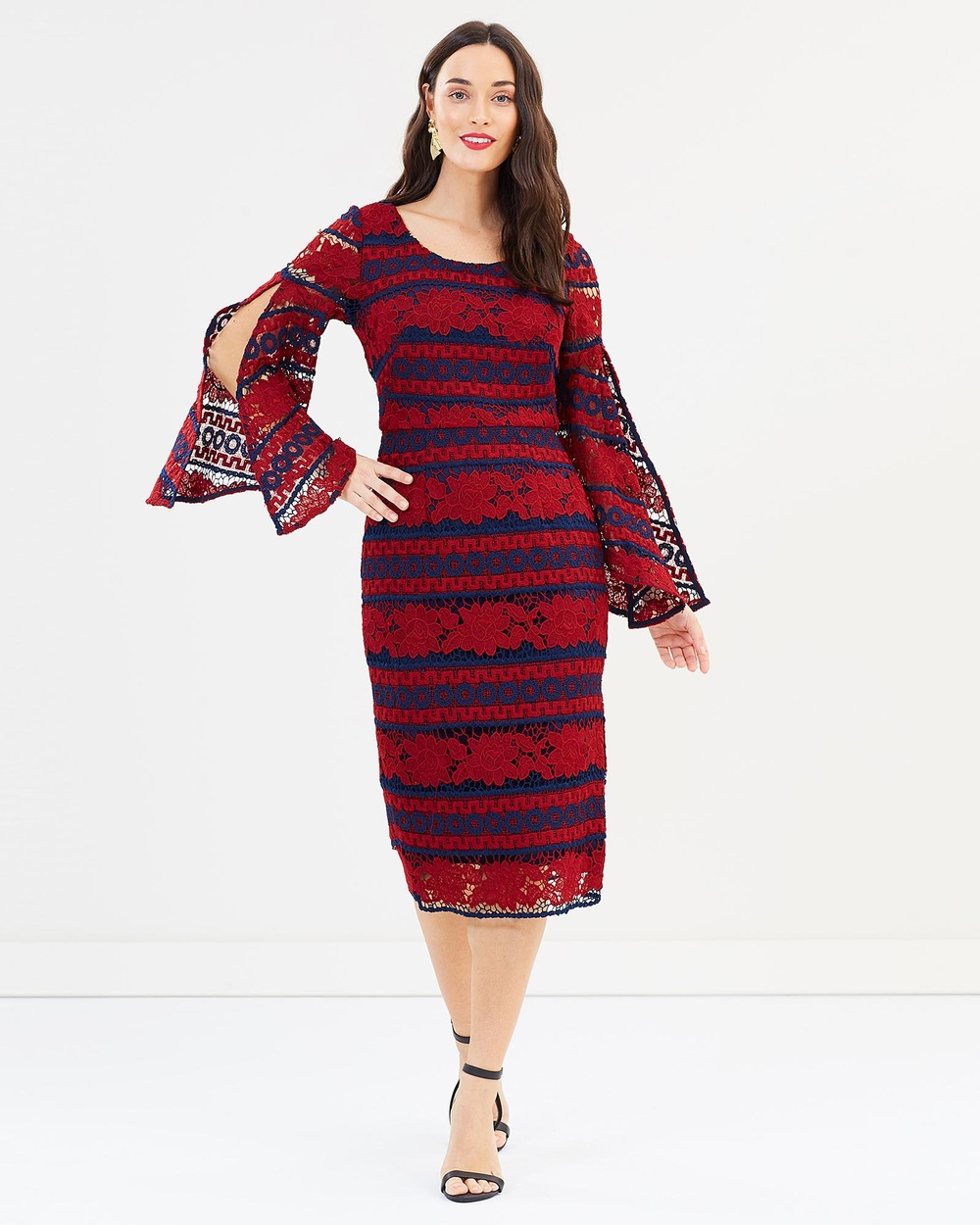 Romance by Honey and Beau Cora Bell Sleeve Dress Bridesmaid Dresses Red Print Cora Bell Sleeve Dress