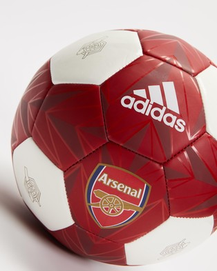 adidas Performance Arsenal Club Ball - Training Equipment (White, Scarlet, Active Maroon & Noble Maroon)