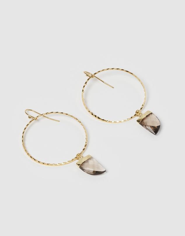 Women Stone Charm Hoop Earrings