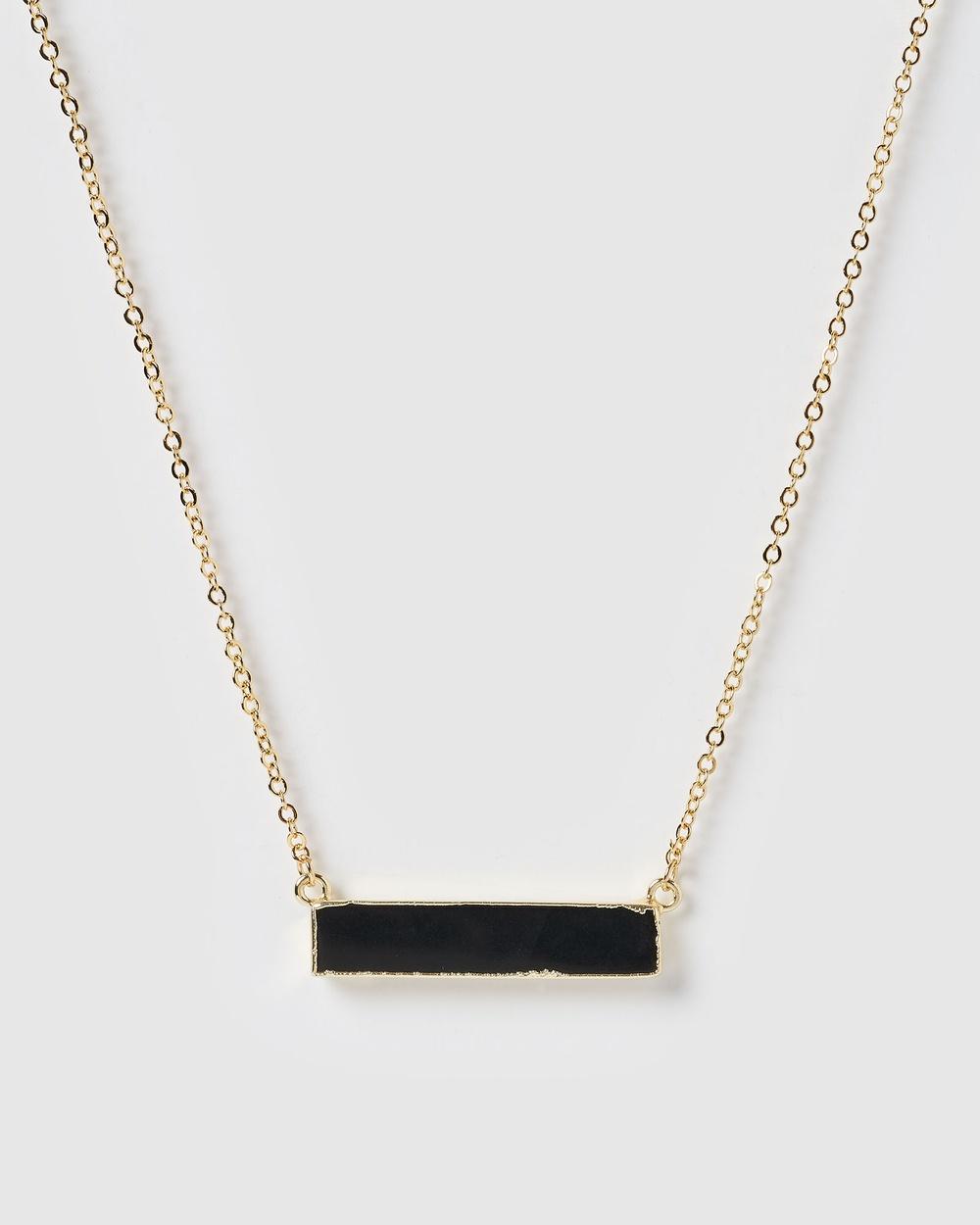 Miz Casa and Co Rylee Pendant Necklace Jewellery Black Onyx Gold