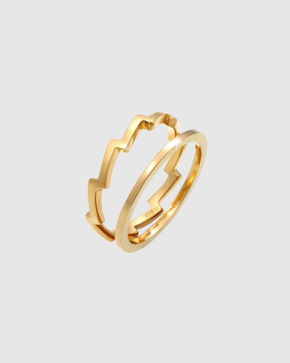 Elli Jewelry Ring Set Geo Look Basic Minimalist Trend Blogger in 925 Sterling Silver Gold Plated Jewellery Gold