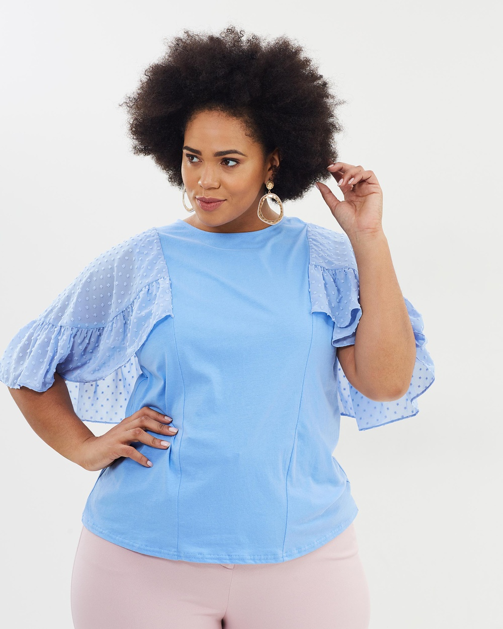 Lost Ink Plus Dobby Flutter Sleeves Top Tops Blue Dobby Flutter Sleeves Top