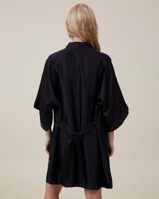 Cotton On Body Satin Kimono Gown - Sleepwear (Black)