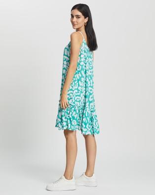 Cartel & Willow Cali Sleeveless Mini Dress - Printed Dresses (Aqua Leopard)
