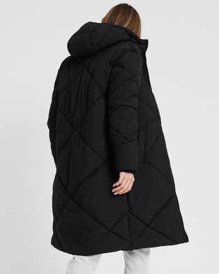 Cotton On Body Active The Recycled Mother Longline Puffer Coats & Jackets Black