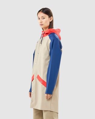 RAINS Colour Block Long Jacket - Coats & Jackets (Beige/Klein Blue)
