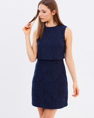 Warehouse – Open Back Bonded Lace Dress – Dresses (Navy)