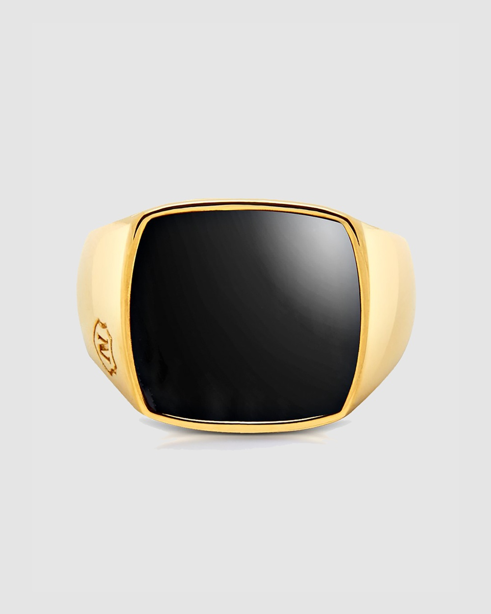 Nialaya Jewellery Men's Cocktail Ring with Onyx Gold
