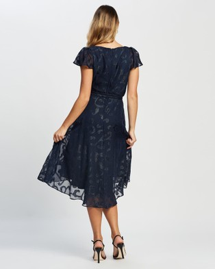 Montique Fiona Burn Out Chiffon Dress - Dresses (Navy)
