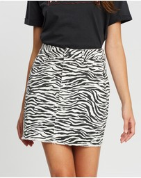 All About Eve - Zebra Denim Skirt