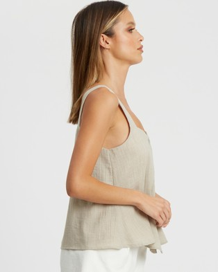 Calli Lara Button Top Tops Sand
